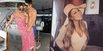 Mariah Carey poses on a yacht with her boyfriend Bryan Tanaka